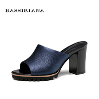 BASSIRIANA 2017 Sandals Women For Summer Genuine Leather High Heels Womans Shoes Free Shipping