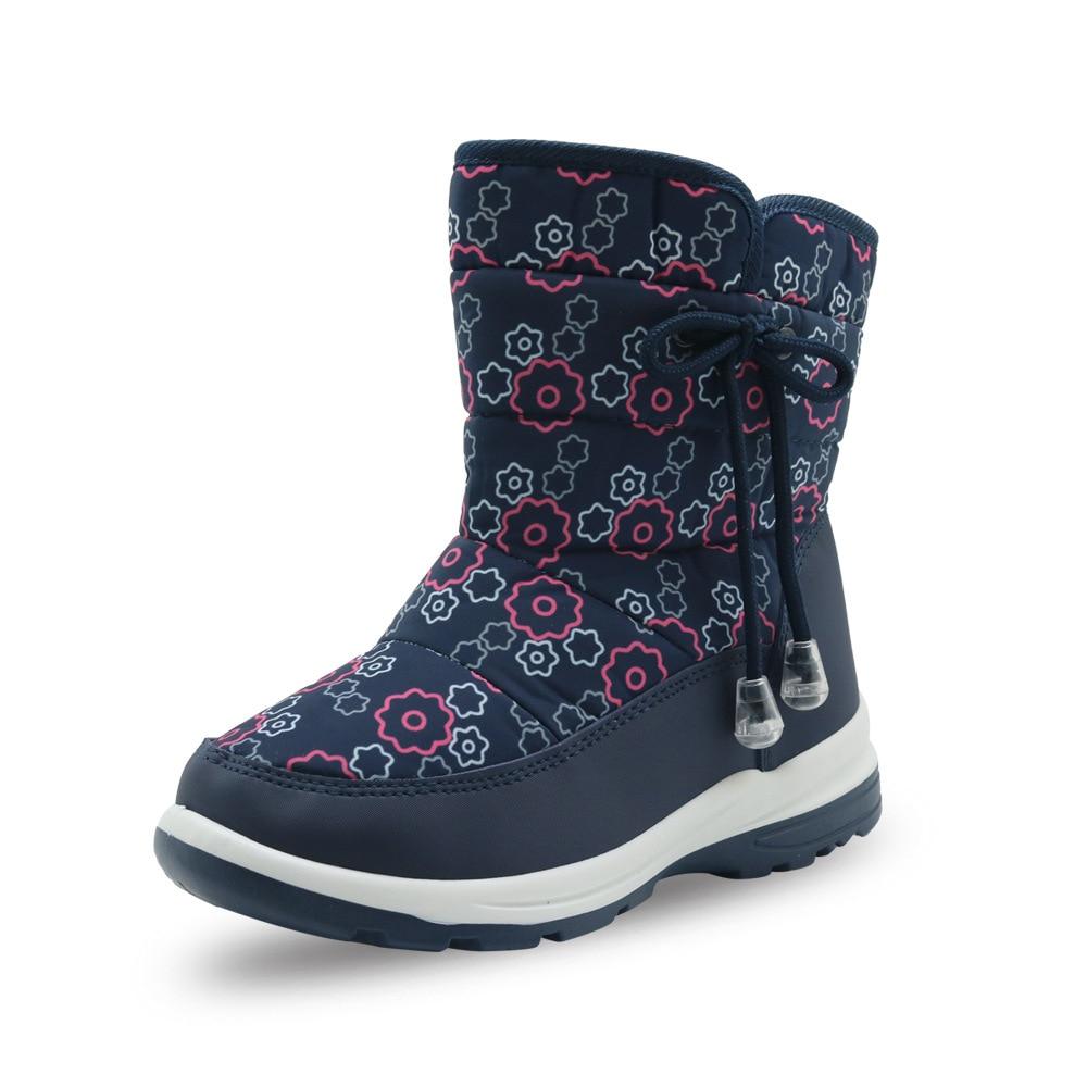 все цены на ULKNN girls snow boots winter new non-slip plus velvet thick warm tube printing baby cotton boots children's shoes 2018
