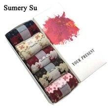 5 Pairs/Lot Winter Warm Wool Socks Women Christmas Gift Brand Fashion Design Cute Cashmere Ladies Female Sweet New