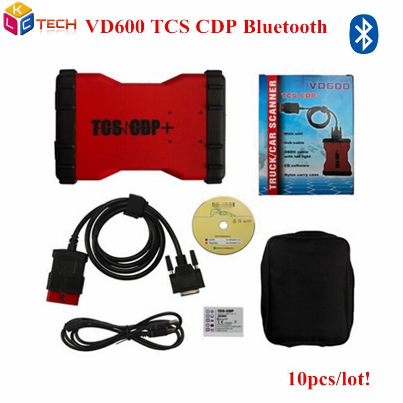imágenes para 10 unids/lote DHL VD600 VD Color Rojo Bluetooth TCS CDP Pro + con 2015.3 VD 600 TCS CDP PRO PLUS herramientas de Diagnóstico para los coches y camiones