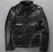 Большие размеры Мужская модная зимняя одежда кожаная одежда Натуральная кожа Стенд воротник замша мотоциклетная кожаная куртка