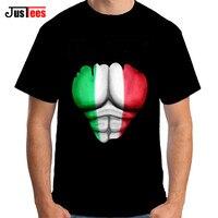 New Arrival Włochy Flaga Zgrywanie Mięśnie Mężczyźni Koszulki z krótkim rękawem Okrągły szyi Marka Odzież Wydrukowano Top Tee Shirt Bawełniane Harajuku Funny T-shirt