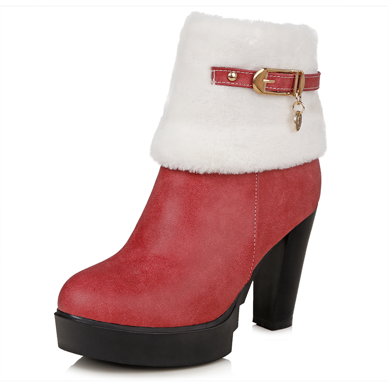 NEMAONEsize 34-43 women flat half short ankle boots winter snow boot cotton quality fashion buckle footwear warm botas shoes