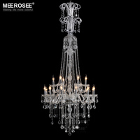 Contemporary Glass Clear Chandelier Light Fixtures Baroque Crystal Hotel Project Lighting Lamps Suspension Light Hotel Lustres