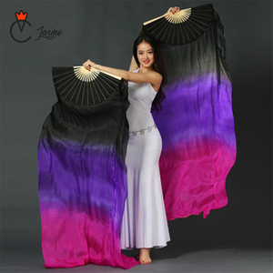 Image 4 - Belly dance fans High quality 20 colors 100% silk veils dance fans bamboo ribs long Stage Performance Property props 180cm