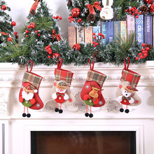 Mini Christmas Stockings Socks Santa Claus Candy Gift Bag Christmas Decorations for Home Festival Party Ornaments L4