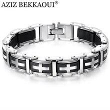 e1c074ec02c0 AZIZ BEKKAOUI negro Acero inoxidable magnetita silicona Cruz pulseras para  hombres pulsera magnética sana y brazaletes joyería m.