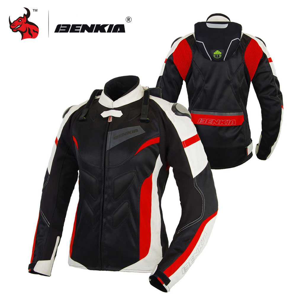 BENKIA Women Motorcycle Jacket Protective Gear Breathable Motorcycle Racing Jackets Moto Jacket Moto Femme S 2XL