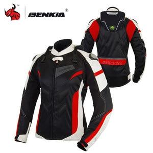 Image 1 - BENKIA Women Motorcycle Jacket Protective Gear Breathable Motorcycle Racing Jackets Moto Jacket Moto Femme S 2XL SIZE
