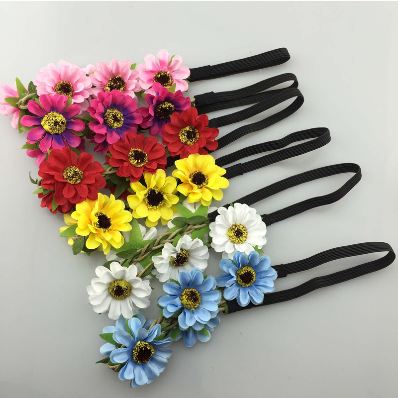 Impartial 6pcs/lot 6color Handmade Bohemia Braid Flower Headbands For Girl Elastic Flower Crown Headband Women Hair Accessories Headwear Girl's Hair Accessories Apparel Accessories