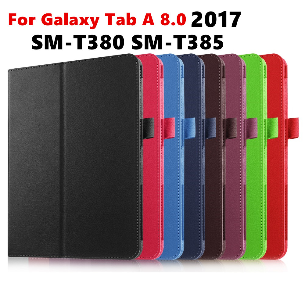Tab A 8.0 2017 Litchi Folio PU Leather Case Flip Cover For Samsung Galaxy Tab A 8.0 2017 A2S T380 T385 SM-T385 Tablet Case bluetooth wireless keyboard case for samsung galaxy tab a 8 0 t380 t385 pu leather stand cover detachable keypad protective case