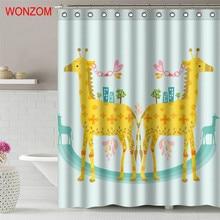 WONZOM Giraffe Dolphin 3D Shower Curtains with 12 Hooks For Mildewproof Bathroom Decor Modern Swan Bath Waterproof Curtain Gift