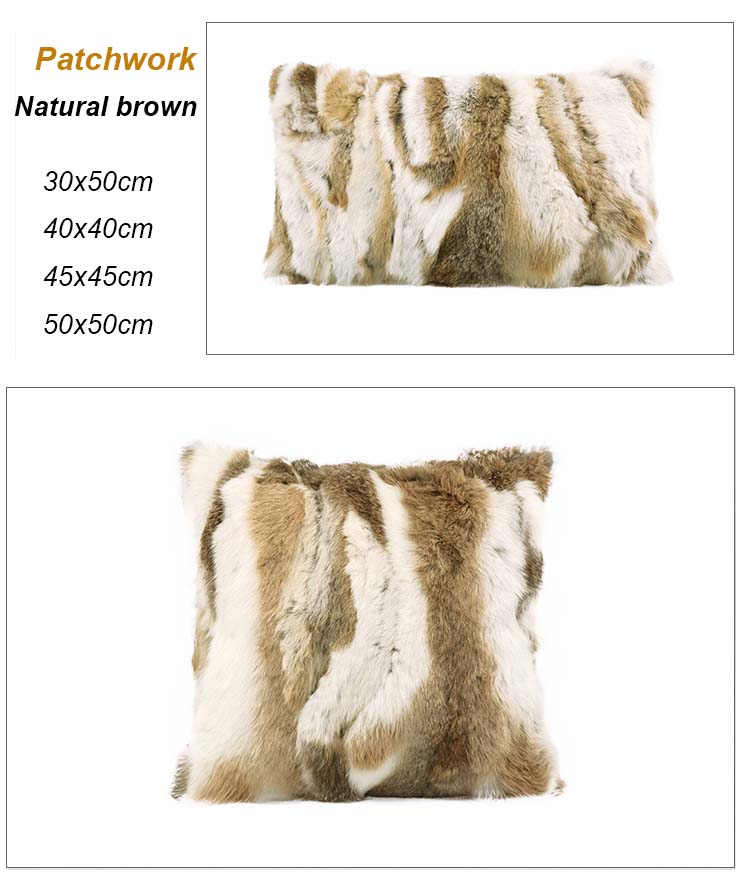 Rabbit fur pillow case detail 4