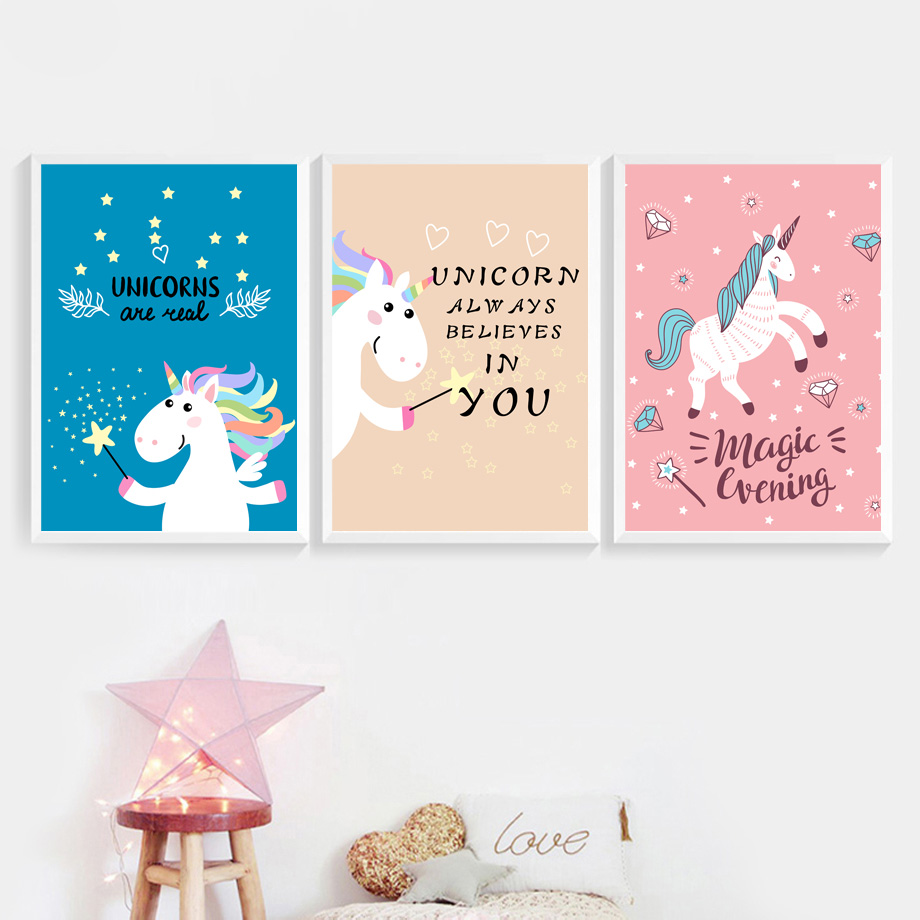 Cartoon Unicorn Quotes Nordic Posters And Prints Wall Art Canvas