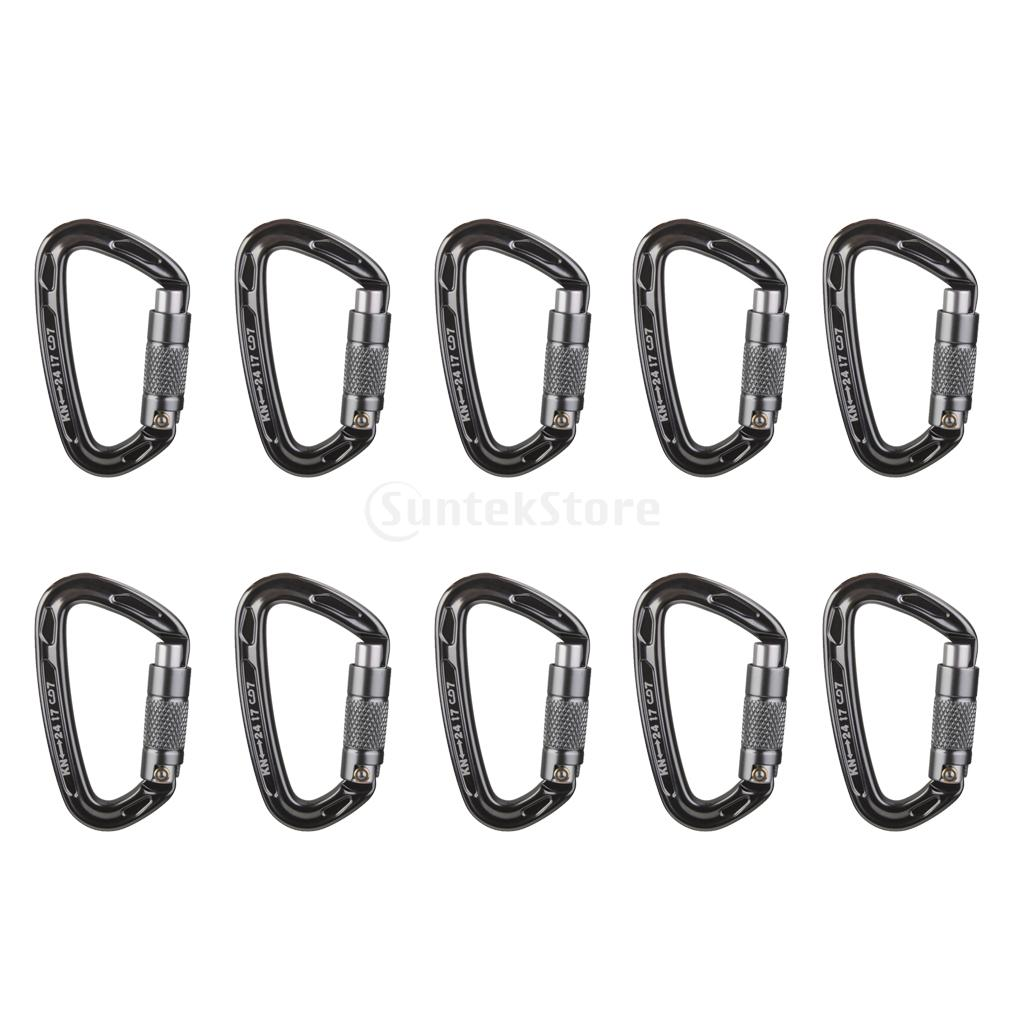 10 Pieces 24KN Aluminum Carabiner D Shape Self Locking for Climbing Gray