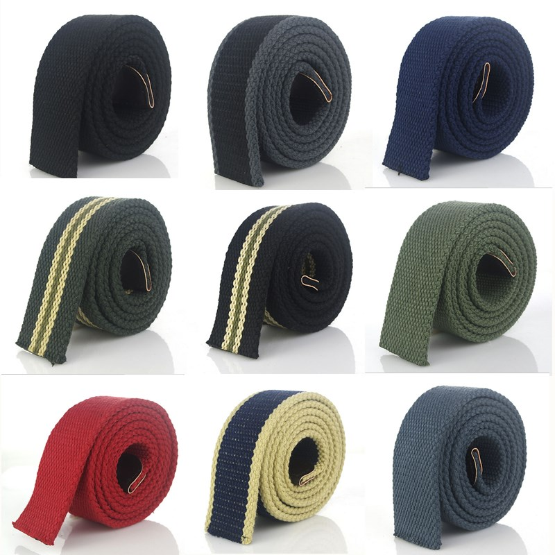 BOKADIAO Men Women Canvas belt without buckle Thicken luxury waistband jeans belt Black weave stripe belts 3.8cm wide strap male