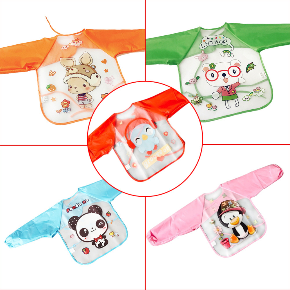 New Cartoon Baby Bibs Long Sleeve Art Apron Animal Smock Children Bib Burp Clothes Soft Feeding Eat Toddler Waterproof Baberos