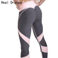 HEAL ORANGE Peach Buttocks Heart Sexy Yoga Pants Women Patchwork Sport Leggings Fitness Elastic Sports Clothing