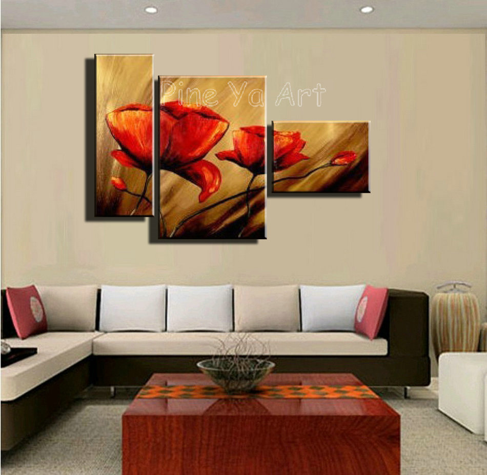 3 Piece Abstract Modern Canvas Wall Art Cheap Handmade Red Poppy Floral Oil  Painting On Canvas For Living Room Home Decoration In Painting U0026  Calligraphy ...