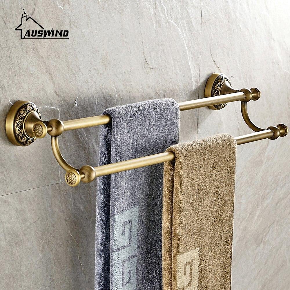 Porte-serviettes classique européen en laiton massif porte-serviettes doré 60 Cm mural accessoires de salle de bain Set 2 couches porte-serviettes