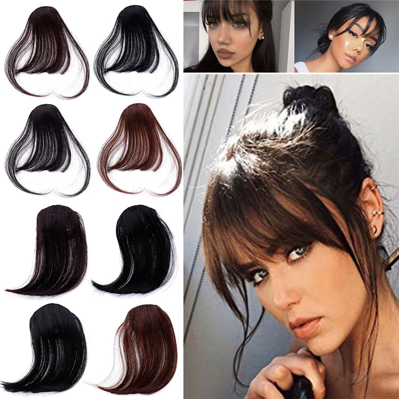 Women Hair Clip In Synthetic Blunt Air Bangs Thin Invisible Extensions  Straight Front Neat Fake Hair Fringes With Temples 291754 76a60e0259