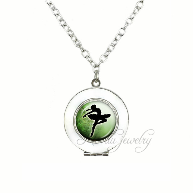 Ballerina silhouette green background locket pendant ballet dancer ballerina silhouette green background locket pendant ballet dancer necklace art photo glass locket pendants necklaces for mozeypictures Image collections