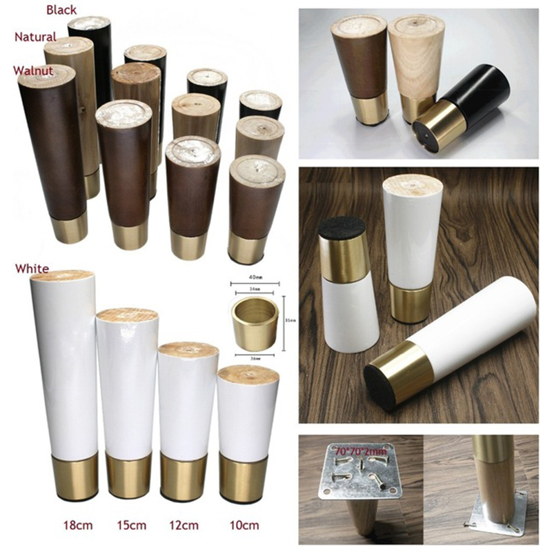 4Pcs/Lot Solid Oak Wood Round Feet Leg Furniture Sofa Cabinet Bar Mid-Century Modern Bun Feet Brass Base Cup Sleeve Tapered Foot