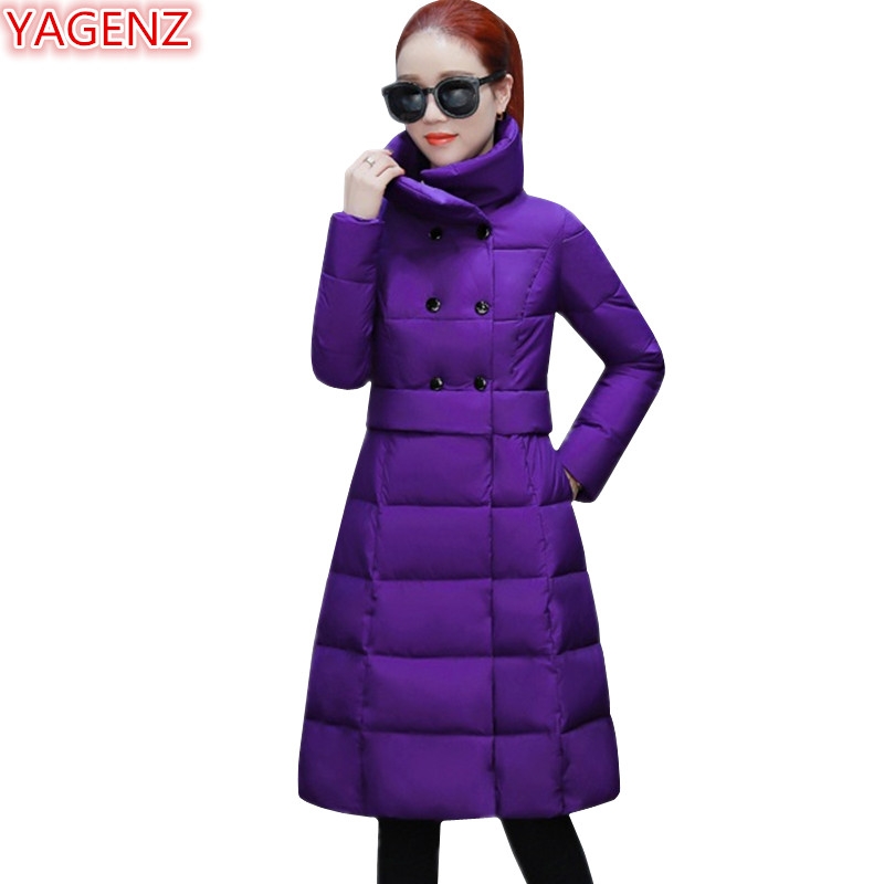 YAGENZ Winter Jacket Women Down cotton coat Fashion Girl Long Coat Double breasted Slim Stand collar Large size Warm   Parkas   771
