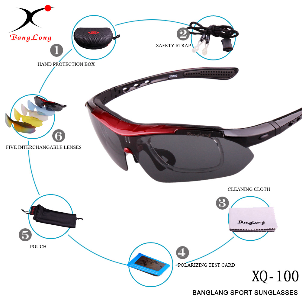 BANGLONG hot sale UV400 Sun glasses for women and men polarized PC frame with 5 lens interchangeable sport cycling sunglasses business intelligence in indian banks