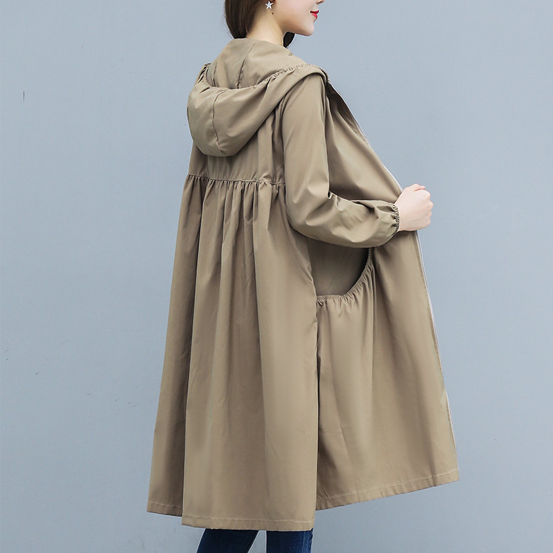 New Long Coat Thin Trench Coat Women 2019 Spring Autumn Large Size Loose Hooded Female Windbreaker Casual Outerwear R863