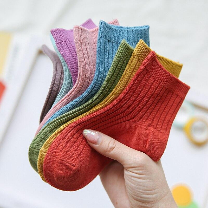 1-12y bebê da criança meias de algodão crianças meninos e menina primavera verão outono meias curtas cor sólida z151