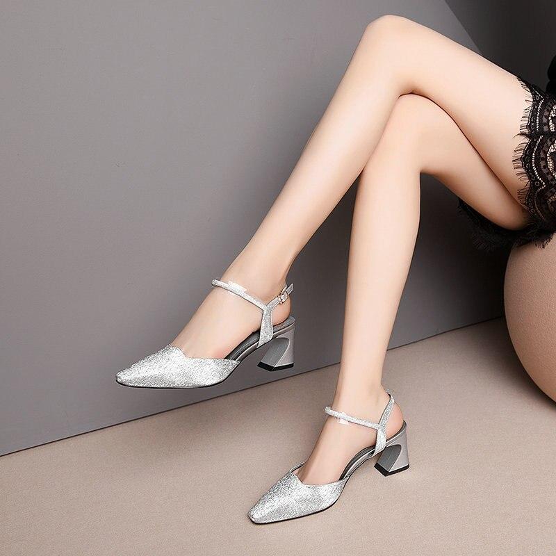NEMAONE nowy projekt 2019 kobiety skórzane szpilki Prom szpilki na wesele letnie buty kobieta dziwne styl obcasy sandały w Wysokie obcasy od Buty na  Grupa 3