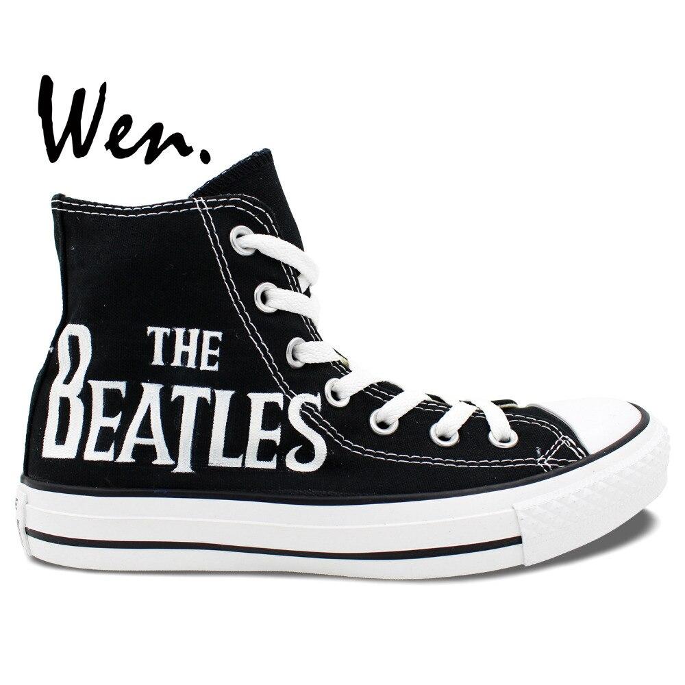 Prix pour Wen Noir Peint À La Main Chaussures Le Beatles de Haute Top Homme Femme Toile Sneakers De Noël Cadeaux D'anniversaire
