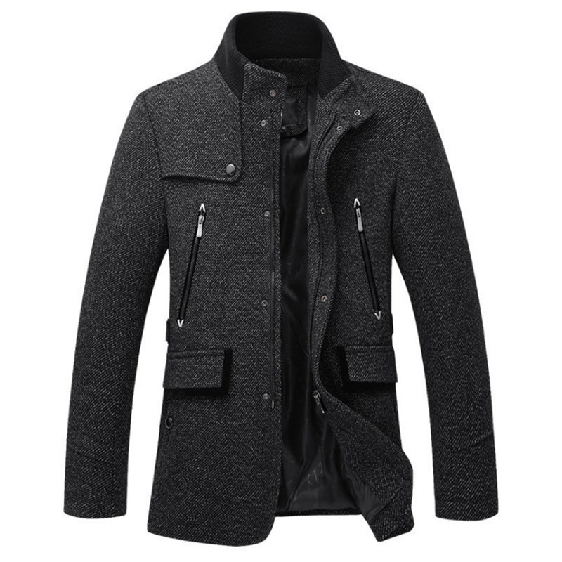 New Wool Blend Jacket Men Autumn Winter Slim Fit Woolen Coat Casual Trench Coat Men Zippers Brand Overcoats High quality