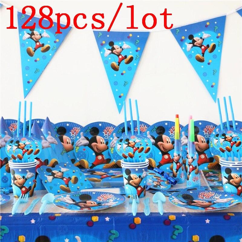 128 шт./лот одноразовые наборы посуды с Микки Маусом для детей, украшения для дня рождения, Детские принадлежности для свадебных мероприятий