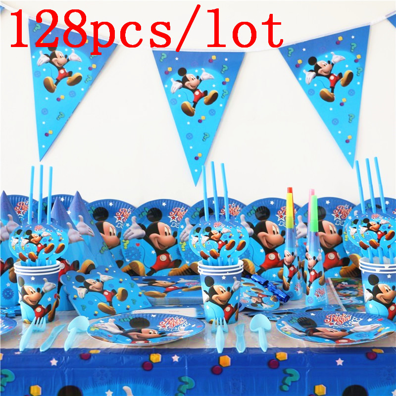128Pcs Lot Mickey Mouse Theme Disposable Tableware Sets Kids Birthday Party Decoration Childrens Day Wedding Event Supplies