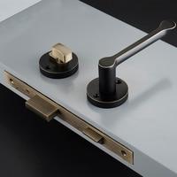 1Set European Solid Brass Interior Door Lever Lock Set For 35 50mm Doors Black Simple Door Lever Handle with Lock Accessories