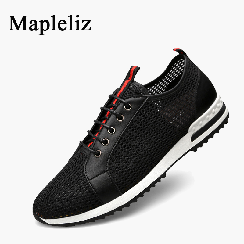 Mapleliz Brand Men Casual Shoes High Quality Mesh Lace-up Summer Light Black Male Flats New Arrival Plus Size Walking Shoes Men men shoes summer breathable lace up mesh casual shoes light comfort sport outdoor men flats cheap sale high quality krasovki