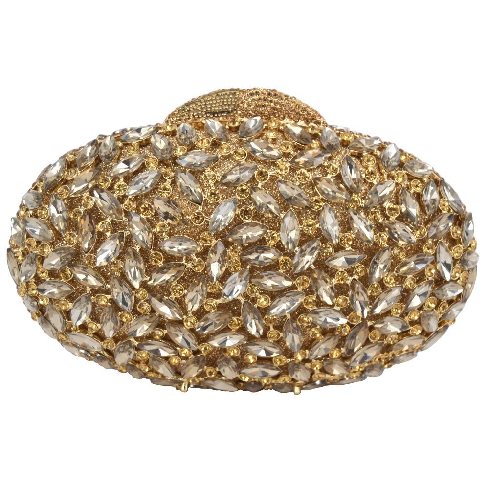 Bagaj ve Çantalar'ten Üstten Saplı Çanta'de Oval lüks akşam el çantası kırmızı El Sanatları kristal debriyaj çanta altın diamante kadın parti akşam çanta çanta SC154'da  Grup 2