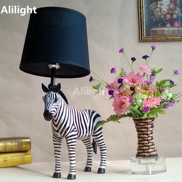 Marvelous Creative Zebra Shape Table Lamp E27 Desk Lights For Study BedRoom Home  Decor Resin Cloth Lighting
