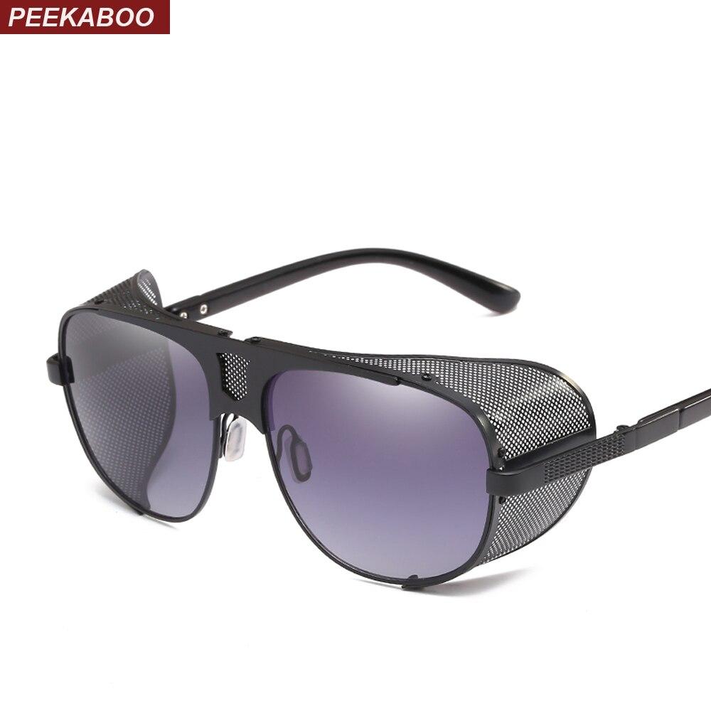 Peekaboo oversize schild sonnenbrille männer steampunk gold schwarz braun rot voller metall großen sonnenbrille für männer 2018 uv400