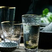 Ins позолоченная окантованная кружка с молотком, бессвинцовое Хрустальное стекло, чашка для холодных напитков, фруктовый сок стекло для коктейлей Золотой узкий стакан для сока