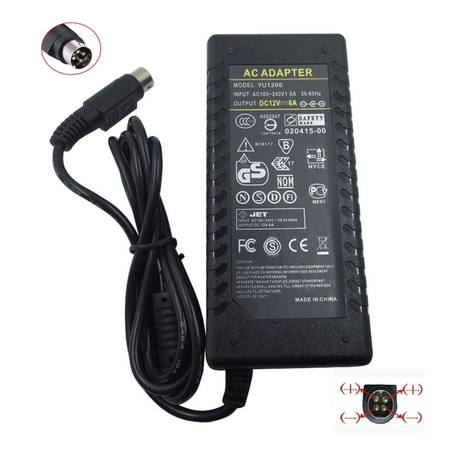 12V6A 4 Pin  AC DC Adapter With IC Chip Switching Power Supply 12V 6A 72W For LCD TV Monitor Adapter Converter TV DVR Charger