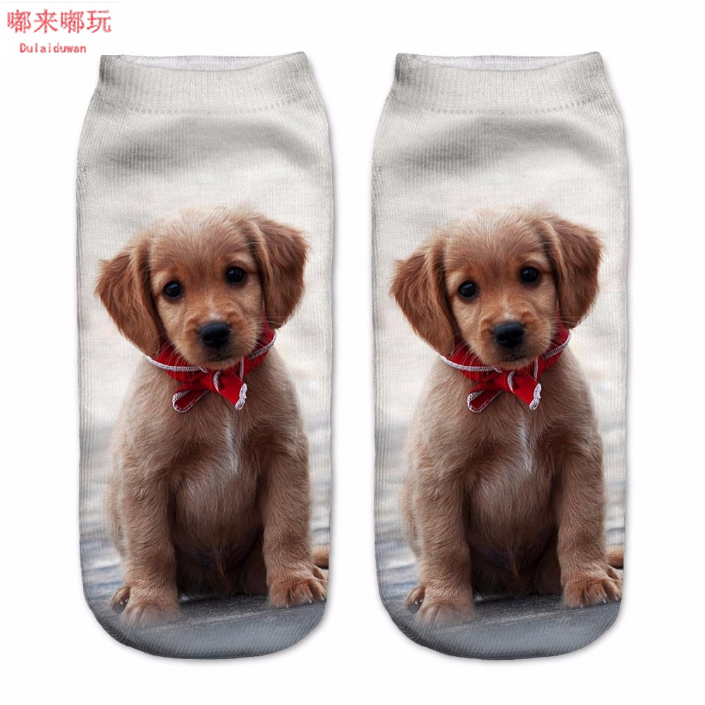New Arrival 1Pair 3D Brown Color Dogs Printed Socks Unisex Cute Low Cut Ankle Socks Cotton Material White Color Dulaiduwan