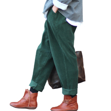 Johnature 2017 Women Corduroy Pants Vintage Autumn Winter Casual Thicken Warm Elastic Waist Loose Cotton Pleated Trouser