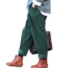 Johnature 2017 calças de veludo feminino do vintage outono inverno casual engrossar cintura elástica quente solto algodão plissado