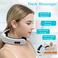 купить Electric Pulse Neck Massager Cervical Vertebra Impulse Massage Physiotherapeutic Acupuncture Magnetic Therapy Relief Pain Tools по цене 619.4 рублей