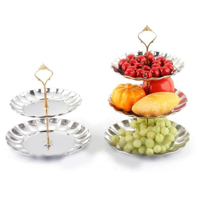 Ideal Sliver Gold Fruit Plates Stand Pastry Tray Candy Dishes Cake  YI33