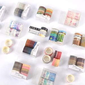 JIANWU 7pcs or 10pcs/set Cute Basic color Washi Tape Scrapbook DIY Masking Tape School Stationery Store Bullet Journal supplies