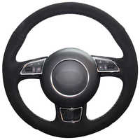 Black Suede Car Steering Wheel Cover for Audi A1 A3 A5 A7